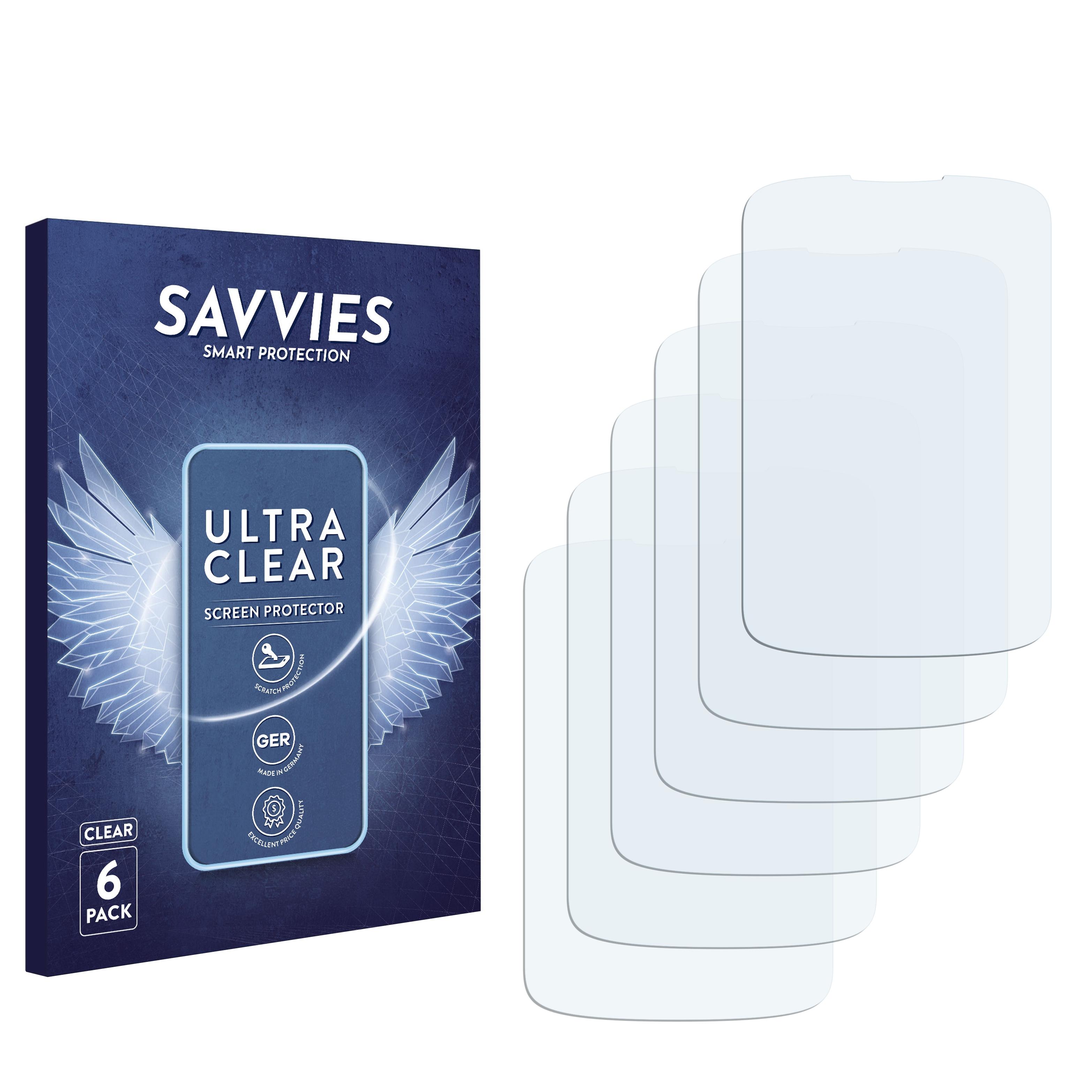 6x Savvies SU75 čirá ochranná fólie pro Alcatel One Touch OT-906