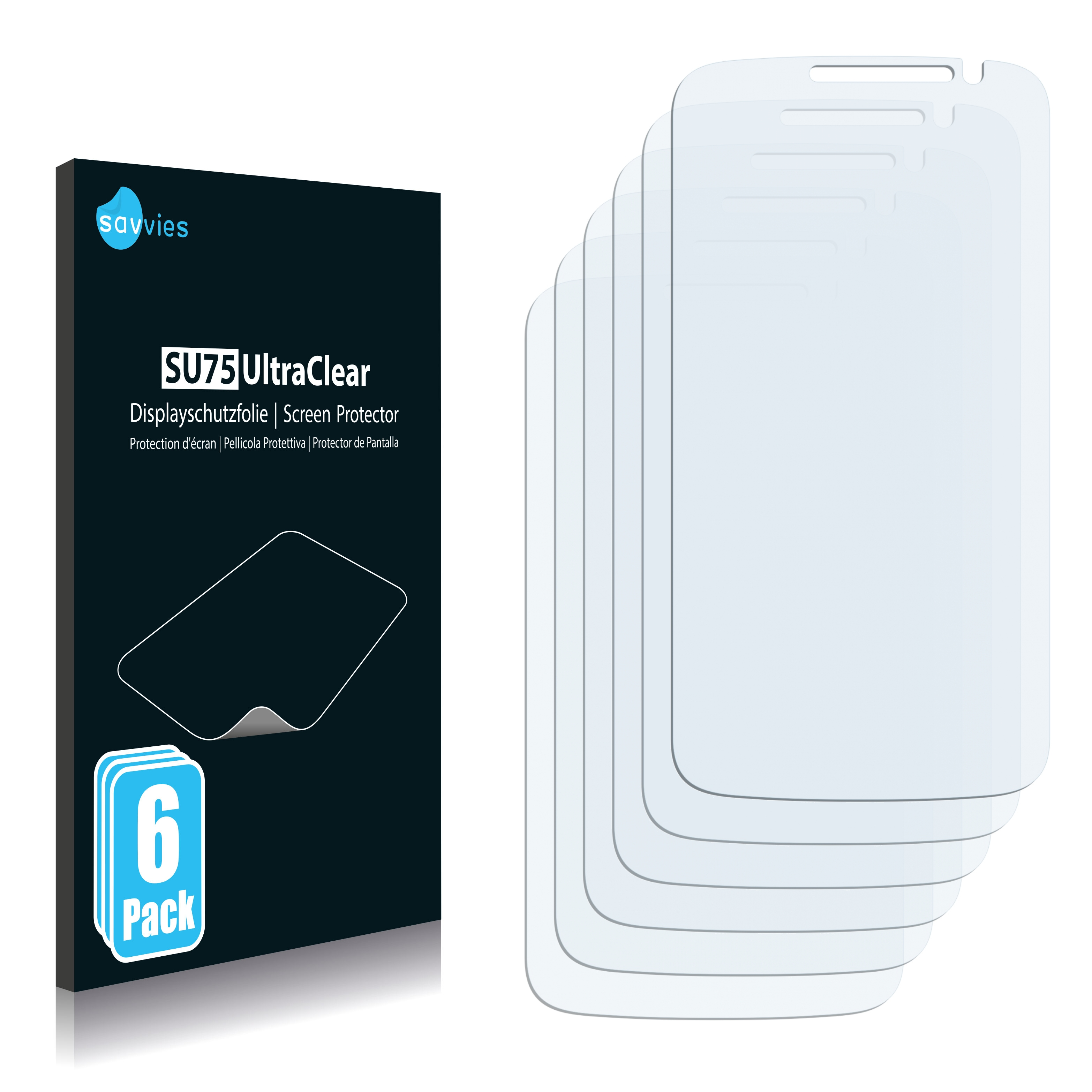 6x Savvies SU75 čirá ochranná fólie pro Alcatel One Touch Pop S9