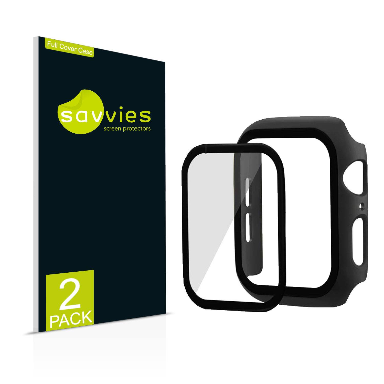 2x Savvies obal s tvrzeným sklem, Full Cover pro Apple Watch SE (44 mm) (černý)