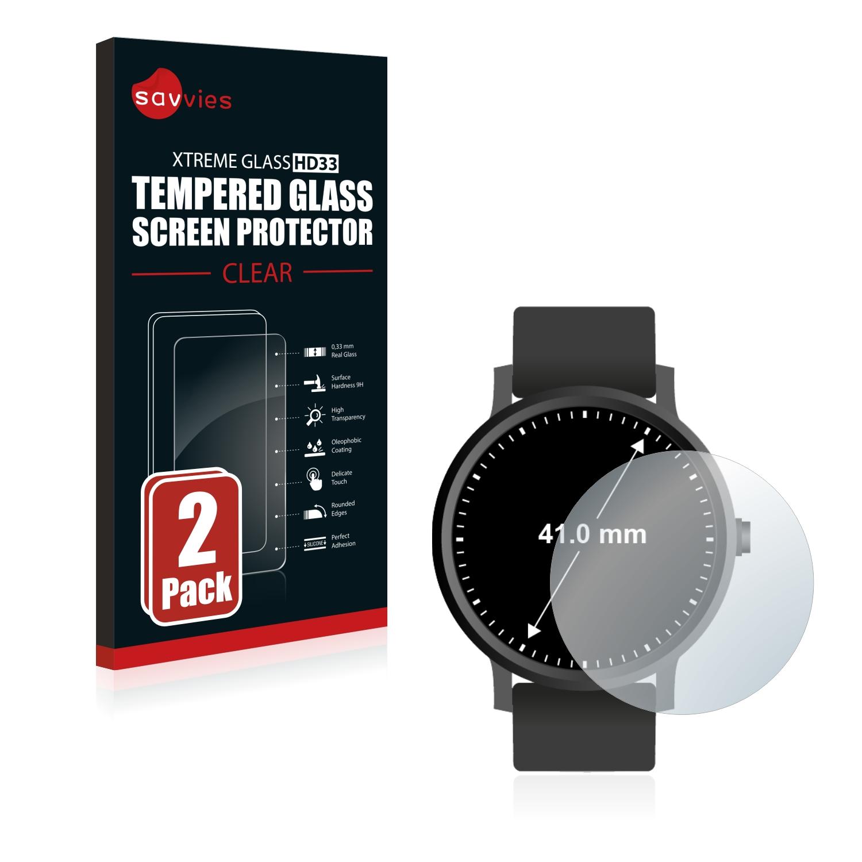 2x Savvies HD33 tvrzené ochranné sklo pro hodinky (kulaté, průměr: 41 mm)
