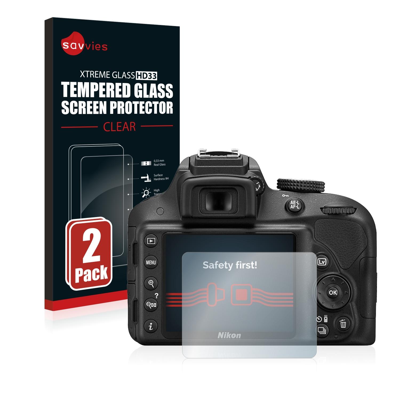 2x Savvies HD33 tvrzené ochranné sklo pro Nikon D3300