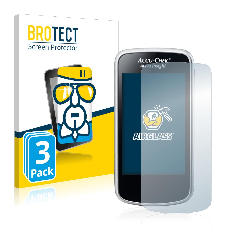 3x BROTECT AirGlass čiré ochranné sklo pro Accu-Chek Aviva Insight Diabetes Manager
