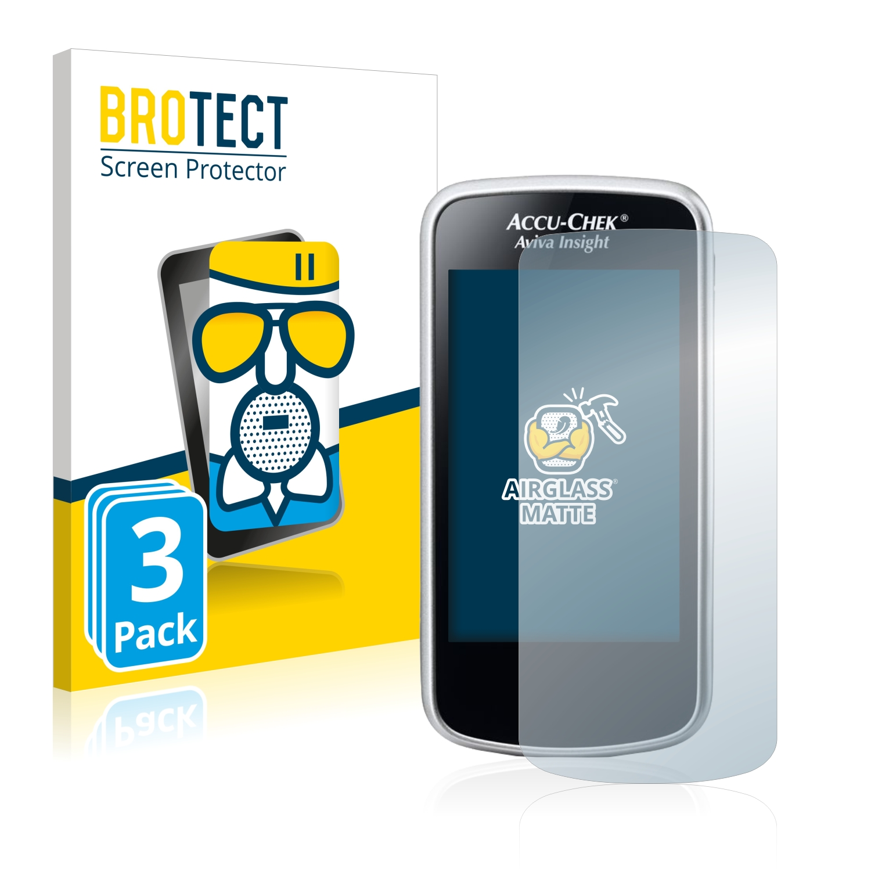 3x BROTECT AirGlass Matné ochranné sklo pro Accu-Chek Aviva Insight Diabetes Manager
