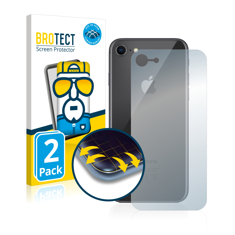 2x BROTECT Flex Full-Cover čirá ochranná fólie pro Apple iPhone 8 (zadní strana)