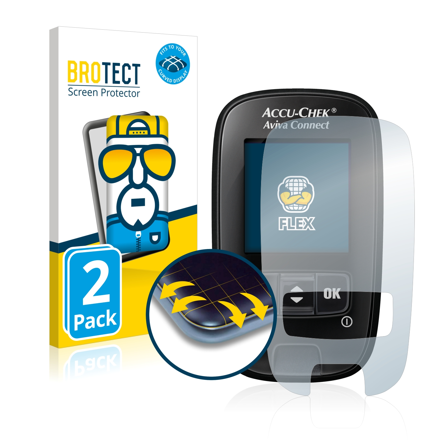 Ochranná fólie BROTECT Flex Full-Cover pro Accu-Chek Aviva Connect, 2ks