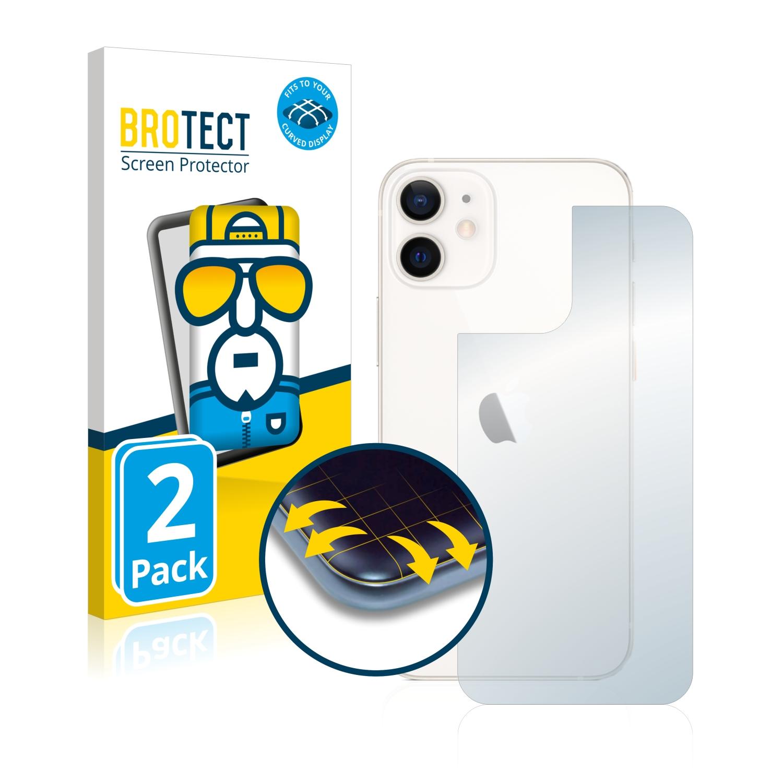 2x BROTECT Flex Full-Cover čirá ochranná fólie pro Apple iPhone 12 mini (zadní strana)