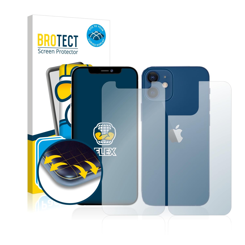 2x BROTECT Flex Full-Cover čirá ochranná fólie pro Apple iPhone 12 mini (přední + zadní strana)
