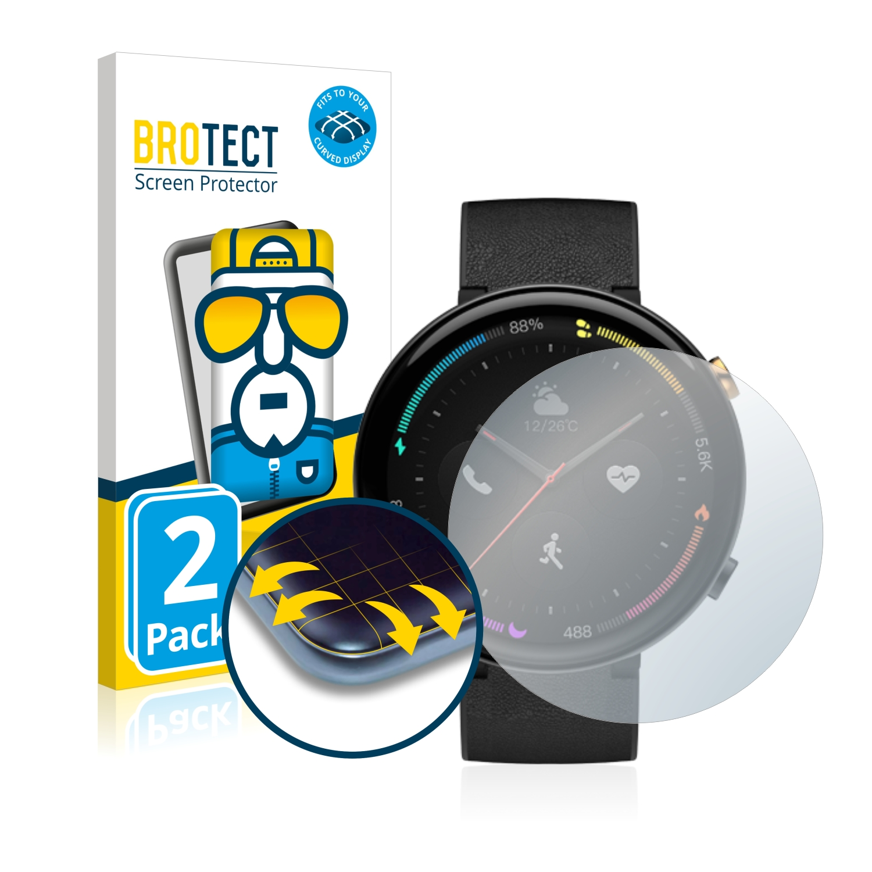 2x BROTECT Flex Full-Cover čirá ochranná fólie pro Amazfit 2 ECG