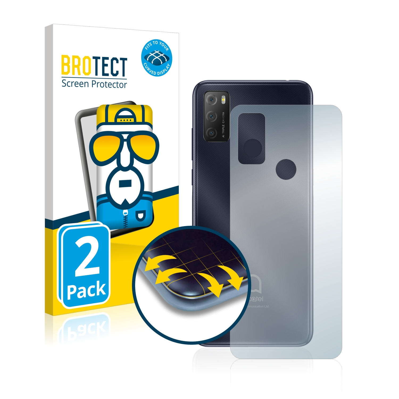 2x BROTECT Flex Full-Cover čirá ochranná fólie pro Alcatel 1S 2021 (zadní strana)