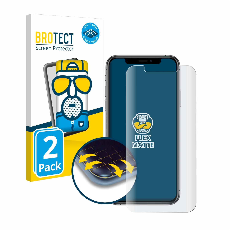 2x BROTECT Flex  Full-Cover matná ochranná fólie pro Apple iPhone Xs