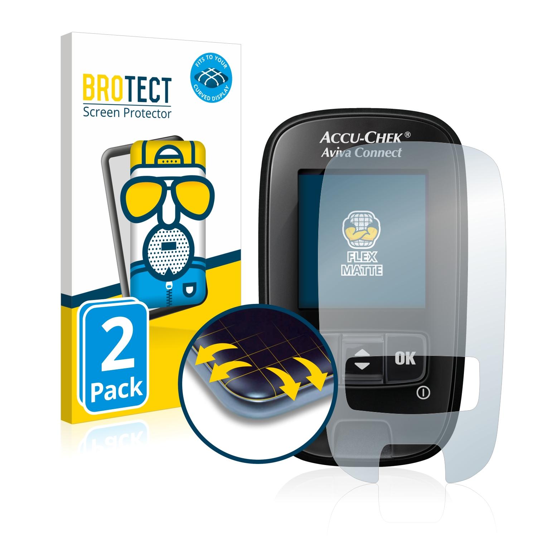 2x BROTECT Flex  Full-Cover matná ochranná fólie pro Accu-Chek Aviva Connect
