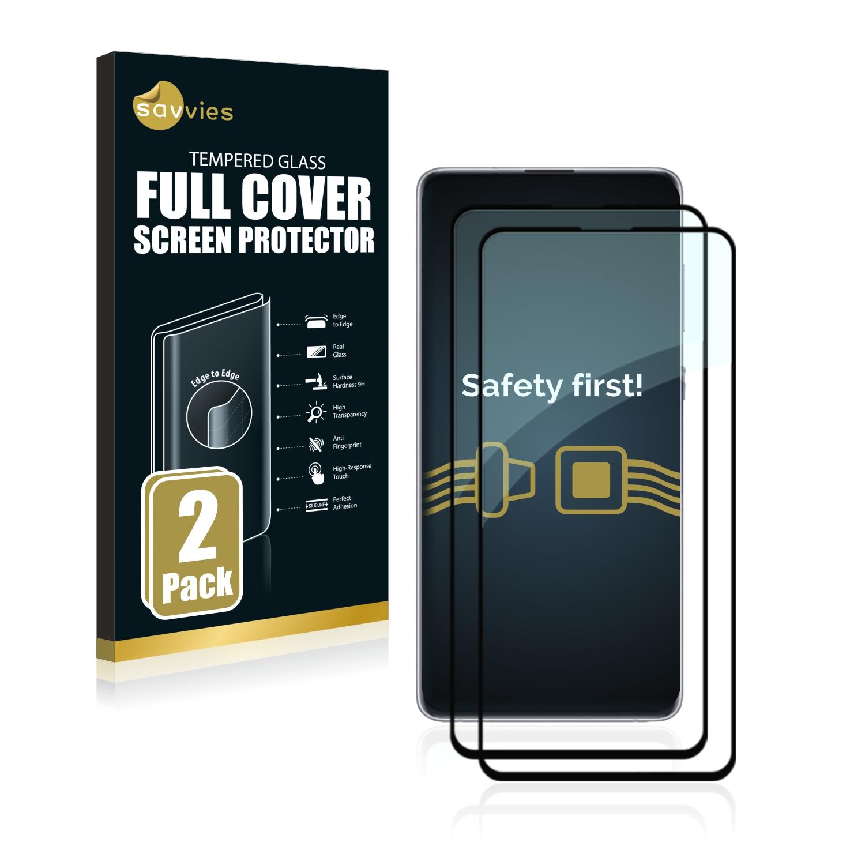 2x Savvies® Xtreme Glass 2.5D Full Cover 3D tvrzené sklo pro Samsung Galaxy Note 10 Lite (černý)