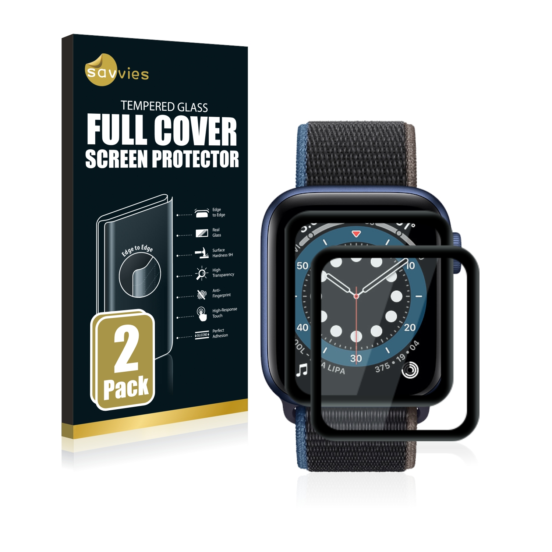 2x Savvies Xtreme Glass 3D Full Cover 3D tvrzené sklo pro Apple Watch Series 6 (40 mm) (černý)