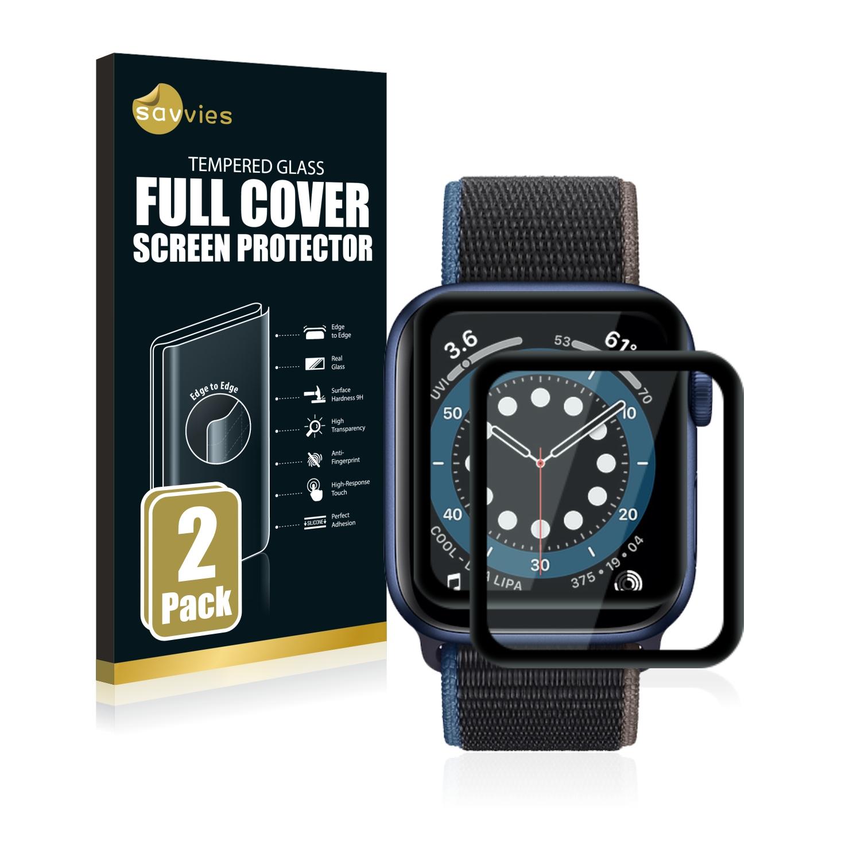 2x Savvies Xtreme Glass 3D Full Cover 3D tvrzené sklo pro Apple Watch Series 6 (44 mm) (černý)