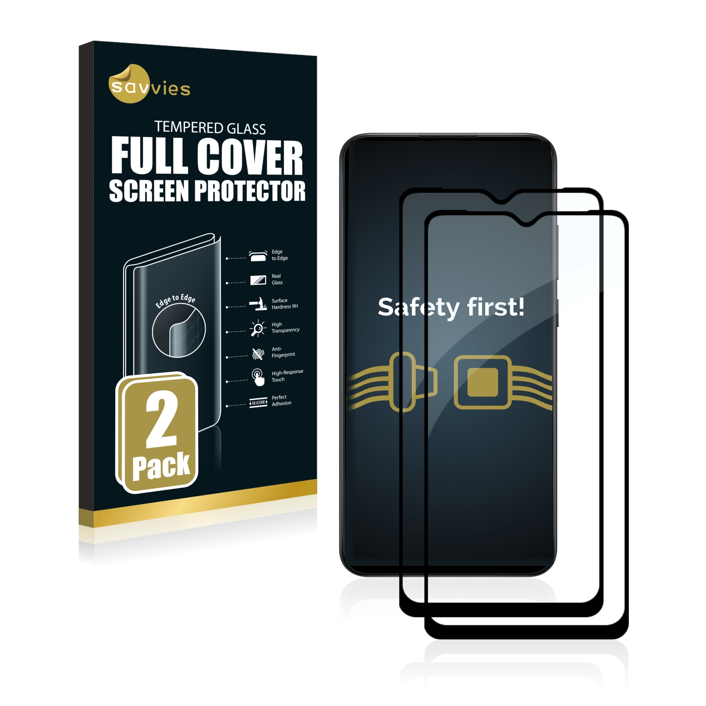 2x Savvies Xtreme Glass 2.5D Full Cover 3D tvrzené sklo pro Samsung Galaxy A12 (černý)