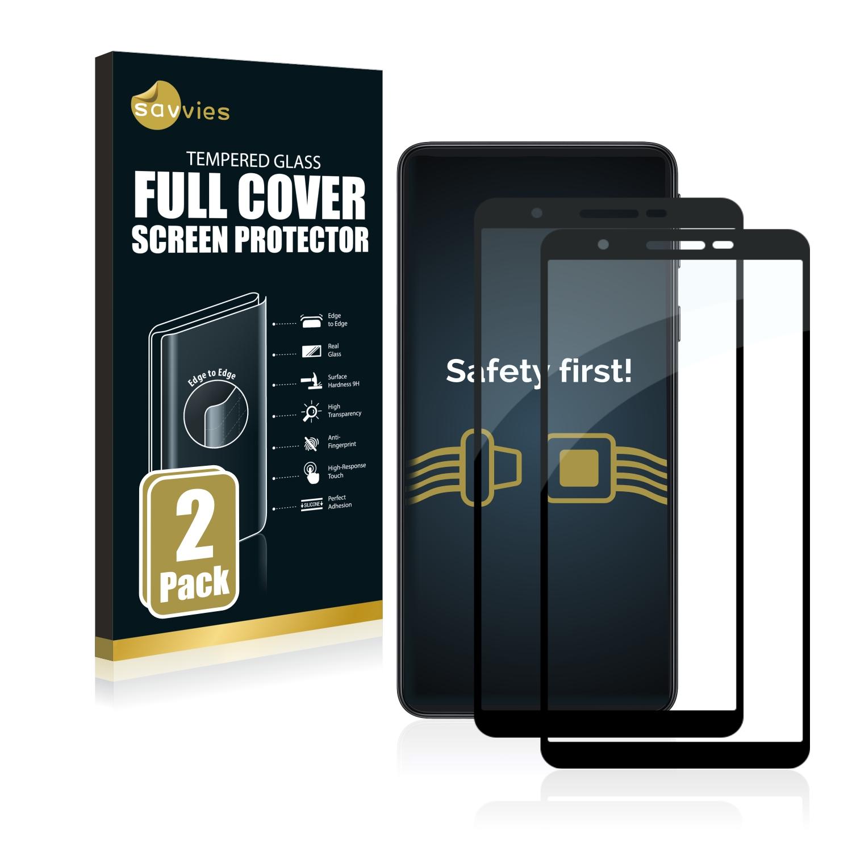 2x Savvies Xtreme Glass 2.5D Full Cover 3D tvrzené sklo pro Samsung Galaxy A3 Core (černý)